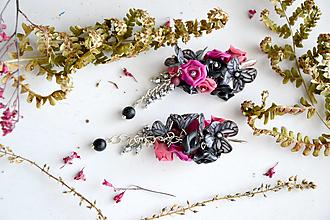 Náušnice - Motýlie kvety, náušnice fimo - 12814881_