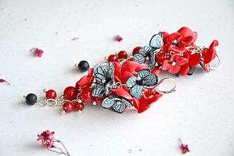 Náušnice - Motýlie kvety II., náušnice fimo - 12814896_