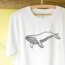 Tričká - Vyšívané tričko - veľryba - 12817277_