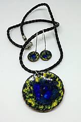 Sady šperkov - Email flora-smaltovaný prívesok a náušky - 12817221_