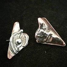 Náušnice - Triangle-náušky zo striebra a medi - 12817155_