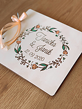 Svadobná kniha hostí, drevený fotoalbum -  venček15