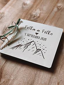 Papiernictvo - Svadobná kniha hostí, drevený fotoalbum - Hory 2 - 12817534_