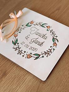 Papiernictvo - Svadobná kniha hostí, drevený fotoalbum -  venček15 - 12817553_