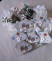 Dekorácie - Vianoce - SADA 6 ks vianočných ozdôb so sovičkami - 12817673_