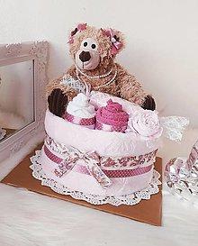 Detské doplnky - Plienková torta macko Vintage - 12817621_