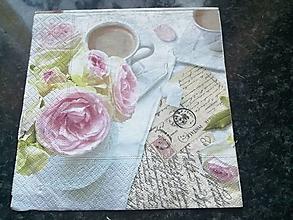 Papier - ruže a káva - 12817865_