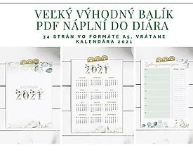 Papiernictvo - PDF Náplne do diára A5 + Kalendár 2021 Greenery - 12824280_