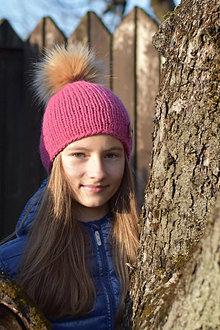 Detské čiapky - Ružová vlnená čiapka - 12823741_