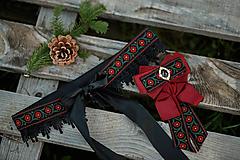 Opasky - Kvetinový opasok s čipkou uväzujúci na mašličku - čierno-bordový - 12821111_