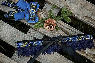 Opasky - Kvetinový opasok s čipkou uväzujúci na mašličku - modrý - 12821105_
