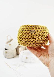 Košíky - Pletený mini košíček - marhuľková/horčicová (horčicový nízky) - 12821708_