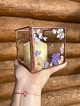 Svietidlá a sviečky - Svietnik so sušenými kvetmi - 12822795_