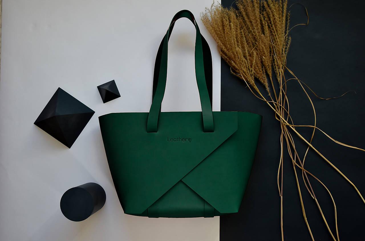 Kožená kabelka Shopper Zelená