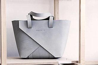 Veľké tašky - Kožená kabelka Shopper Šedá - 12822092_