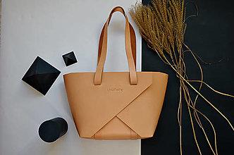 Kabelky - Kožená kabelka Shopper Prírodná - 12822108_
