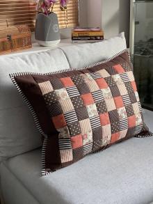 Úžitkový textil - Veľký vankúš  patchwork 70 x 55 cm Tehlová s čokoladovou - 12825860_