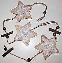 Polotovary - Girlanda hviezdy - drevo, čipka - 12827340_