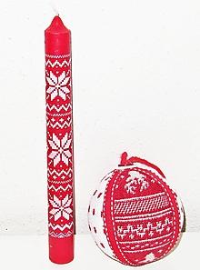 Polotovary - Vianočná guľa a vianočná sviečka - 12827423_
