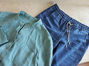 Košele - Dámska ľanová košeľa so stojačikom - 12825965_
