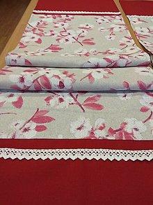 Úžitkový textil - Obrus -štóla  čerešňový kvet - 12829753_