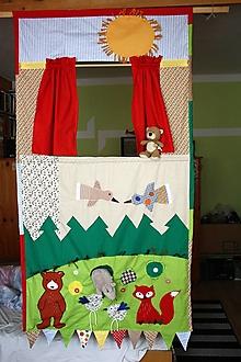 Hračky - Bábkové divadlo. Závesné textilné divadlo s oponou veľké. - 12829620_