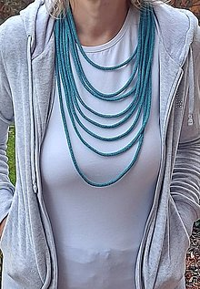 Náhrdelníky - Textilný šperk tyrkysový - 12831021_