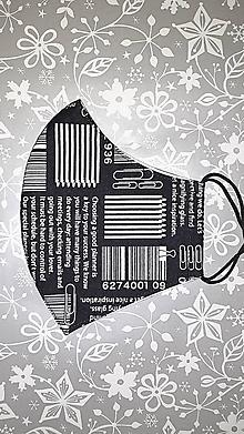 Rúška - Pánske rúško Čiarový kód s antibakteriálnou bavlnou - 12835242_