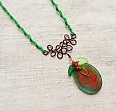 Náhrdelníky - Náhrdelník živica, drôt, korálky VIII - 12833705_
