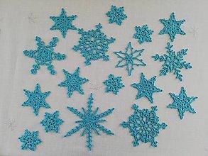 Dekorácie - Sada modrých vianočných vločiek - 12832630_