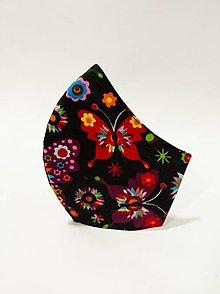 Rúška - AKCIA! Dámske rúško motýľ čierne - 12832052_
