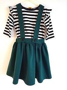 Detské oblečenie - Sukňa na traky-smaragd - 12833449_