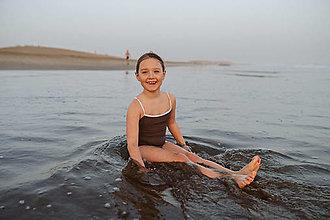 Detské oblečenie - Dievčenské plavky hnedé - 12832493_