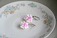 Náušnice - Ružovkasté pusinky, fimo, náušnice - 12837448_