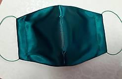 Rúška - saténové rúško tmavozelené (Dámske - klobúková gumička) - 12835372_