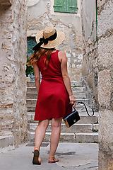 Šaty - SOFIE lněné zavinovací šaty (Červená) - 12838255_