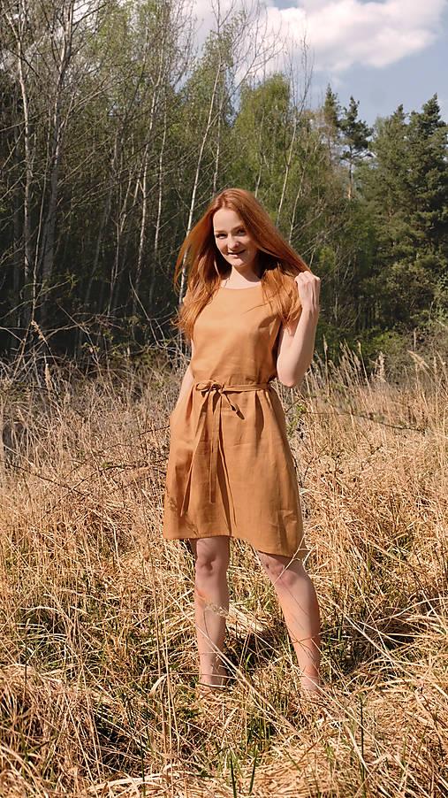 Šaty - MIRJÉN pohodlné lněné šaty  - 12838189_