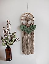 """Dekorácie - makramé lapač snov """"strom života"""" (piesková, eukalyptové lístky) - 12840725_"""
