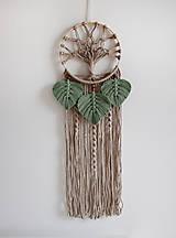 """Dekorácie - makramé lapač snov """"strom života"""" (piesková, eukalyptové lístky) - 12840726_"""