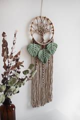 """Dekorácie - makramé lapač snov """"strom života"""" (piesková, eukalyptové lístky) - 12840727_"""