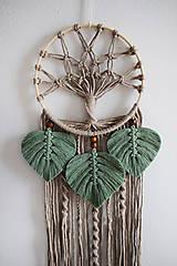 """Dekorácie - makramé lapač snov """"strom života"""" (piesková, eukalyptové lístky) - 12840728_"""