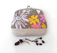 Peňaženky - Peňaženka XL Šedá s kvetmi - 12840502_