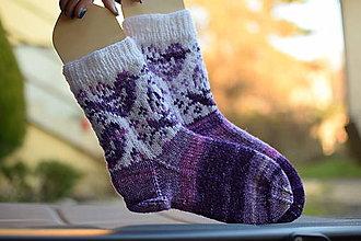 Obuv - vtáčikové ponožky - fialový melír (v.37-39) - 12841832_