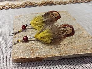 Náušnice - Pierkové náušnice nature a žlutá - 12847417_