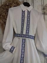 """Šaty - """"Floral folk"""" ľanové dlhé košeľové šaty - 12844168_"""