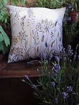 """Úžitkový textil - Ľanový, ručne maľovaný vankúš """" Suché steblá tráv """" (Suché steblá 40 x 40) - 12844415_"""