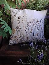 """Úžitkový textil - Ľanový, ručne maľovaný vankúš """" Suché steblá tráv """" (Suché steblá 40 x 40) - 12844416_"""