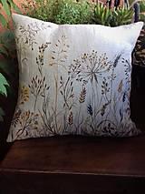 """Úžitkový textil - Ľanový, ručne maľovaný vankúš """" Suché steblá tráv """" (Suché steblá 40 x 40) - 12844417_"""