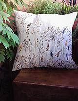 """Úžitkový textil - Ľanový, ručne maľovaný vankúš """" Suché steblá tráv """" (Suché steblá 40 x 40) - 12844418_"""
