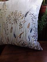 """Úžitkový textil - Ľanový, ručne maľovaný vankúš """" Suché steblá tráv """" (Suché steblá 40 x 40) - 12844419_"""